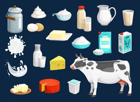 Milk product vector icons of dairy food and drink design. Yogurt bottle, glass and cheese, cow animal, cream and butter, jug and box of sour cream, cottage cheese bowl, mozzarella, baked milk splashes