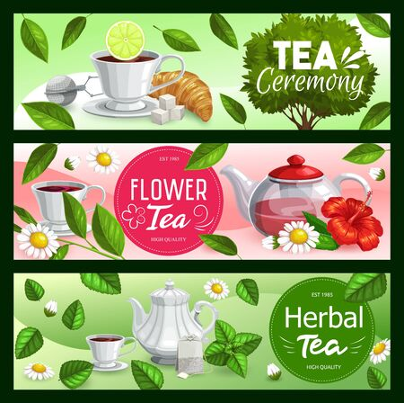 Tea leaves with cups and teapots of black, green and herbal beverage vector banners. Tea bags, mugs and sugar, croissant, mint and lemon, hibiscus and chamomile, infuser mesh spoon and sprouts