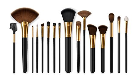 Makeup brush vector mockups of beauty cosmetics 3d design. Blush, eyeshadow and contour, eyebrow comb, foundation, concealer and bronzer, angle, fan and flat realistic brushes, make up artist kit