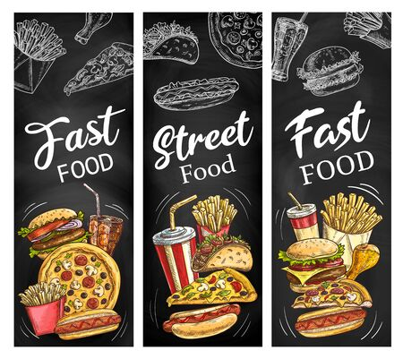 Fast food menu blackboard with meal and drink chalk sketches. Vector hamburger, pizza and hot dog, french fries, soda and chicken leg, cheeseburger and mexican taco chalkboard banners design 向量圖像