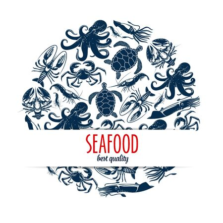 Seafood round symbol with  sea animals and shellfish.