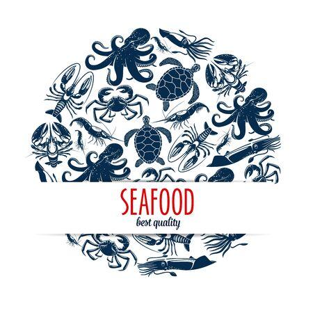 Seafood round symbol with  sea animals and shellfish.
