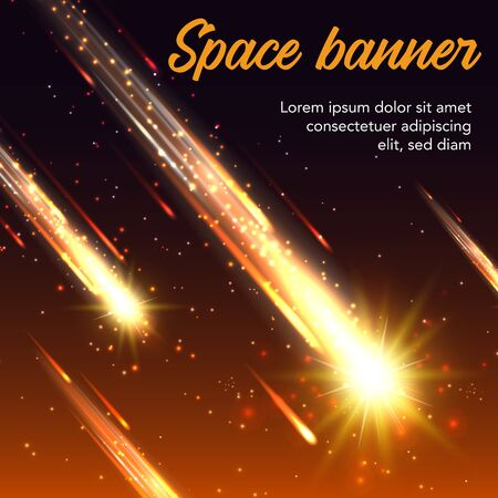 Space vector banner of meteor shower, shooting stars and falling comets or asteroids with bright yellow meteorite fireballs, glowing fire trails and orange sparkles. Galaxy, universe and astronomy