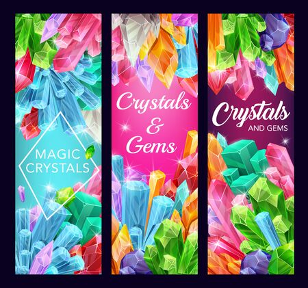 Magic crystals vector design of gem stones and mineral rocks. Gemstone and jewel banners with quartz, amethyst and diamond, precious blue sapphire, yellow citrine and pink opal, emerald and glass