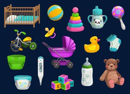 Iconos de artículos para bebés con juguetes vectoriales y productos de cuidado infantil. Biberón, sonajero y chupete, cochecito, pañal y osito de peluche, cuna, calcetines y vasito, patito de goma, termómetro y pelota, bicicleta, bloques Ilustración de vector