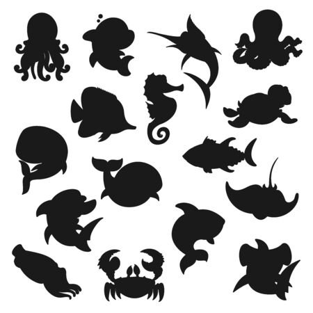 Sea animals, fishes and ocean creatures silhouette icons. Illustration