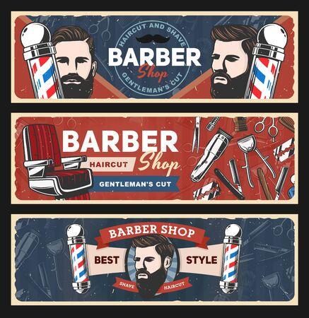 Barbershop disegno vettoriale di barbiere e parrucchiere.
