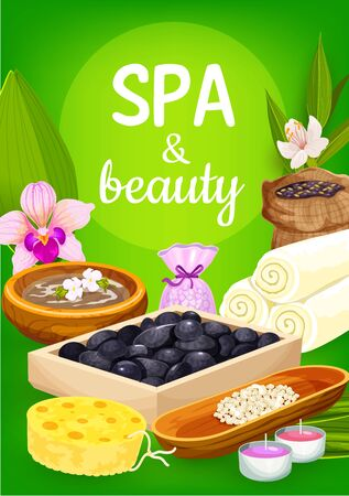 Spa and beauty salon treatments, massage and health therapy. Иллюстрация