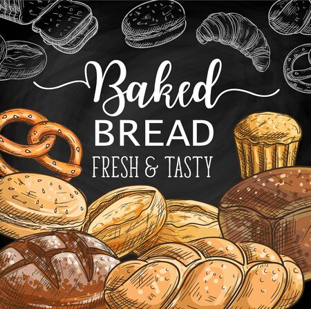 Bread chalk sketches on blackboard vector design of bakery and pastry shop menu.