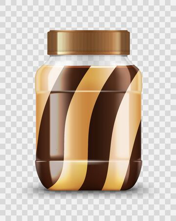 Peanut butter and chocolate jar 3d vector mockup of spread food package design. Caramel, nut paste, milk and cocoa cream brown and white swirls, realistic glass pot with golden screw lid or cap Stock Illustratie