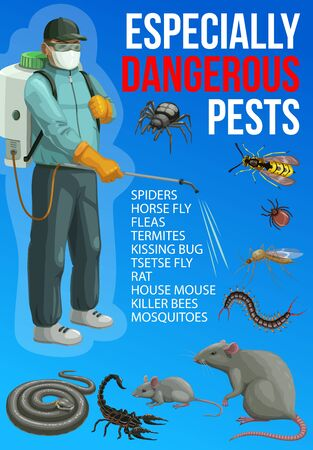 Pest control service vector design of insect and rodent chemical disinfection. 向量圖像
