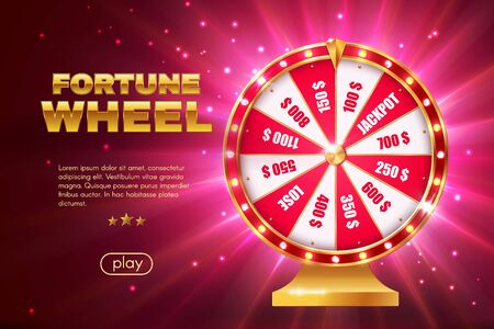 Fortune wheel 3d  design of gambling game, online casino landing page template.