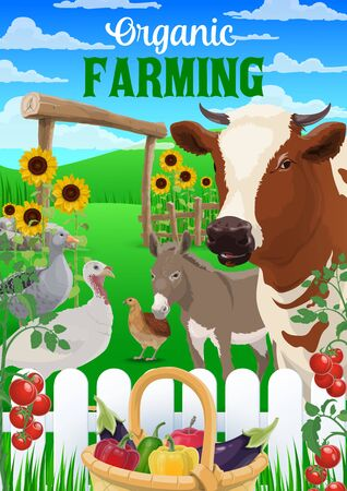 Animal and vegetable farm vector design of agriculture and farming. Cow, farmer fields and chicken, garden trees, turkey and goose, duck, donkey and quail, crop plants, tomatoes and peppers in basket
