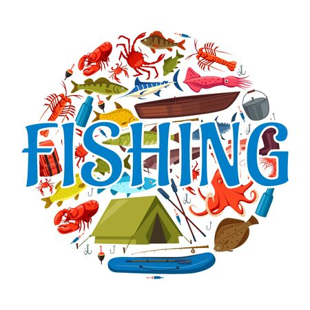 Fishing sport icon with circle of fish, seafood, fisherman equipment and tackle. Vector fishing boat, rods and hooks, blue marlin, salmon and crab, lure, bait and tent, octopus and squid round symbol Ilustracja