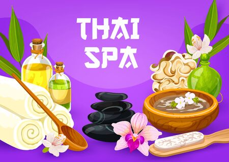 Thai massage, health and beauty spa therapy poster. Vector massage and sauna oil, stones and towels, bamboo sponge, hair and face herbal lotion of exotic flowers, feet skin scrub pumice, bath salt