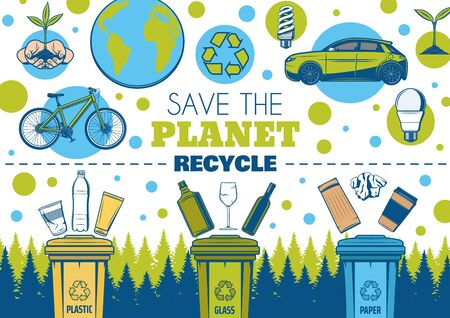Save Earth and recycle vector design of ecology and environment. Recycling symbol, eco green planet and energy saving light bulbs, plant in hands, recycle bins, sorted waste of plastic, glass, paper