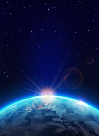 Earth planet with Sun in space vector design of astronomy science. Sunrise over blue globe with light flashes of sunlight beams and lens flare effects on galaxy stars background