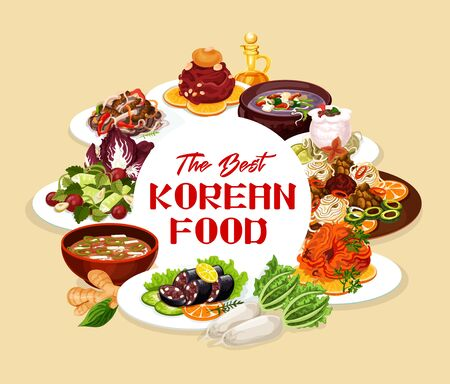 Korean food round frame, vector national cuisine of Korea dishes. Vector dried pollack in hot sauce, spicy kimchi soup, beef ribs in pot of radish. Lettuce and carp, hee from beef, salad with cilantro