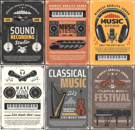 Music instruments and retro sound recording studios. Vector live classical music, vinyl disk and banjo guitars, microphones and synthesizer, violin and headphones. Symphony and melodies, orchestra