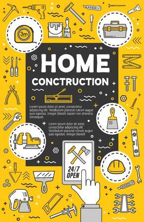Home construction service. Vector diy tools, thin line carpentry symbols. Measure tape and hammer, helmet and spatula, diy items and woodwork plane grinder and screwdriver Illusztráció