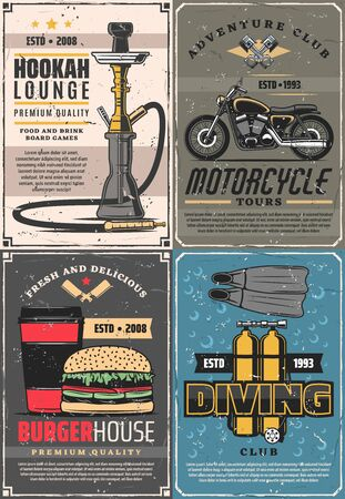 Hookah lounge bar and motorcycle adventure club, burger house and diving school. Vector smoke shop, travel tours on bike, fastfood restaurant and diver sport equipment, oxygen ballon, flippers Stock Illustratie