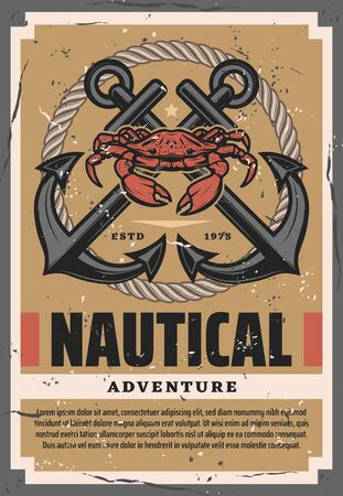 Nautical adventures retro crossed anchors, ship rope knot and crab. Vector marine animal, seafarer sailing and travel by sea, ocean spirit. Seafood and sailing equipment, vintage traveling symbols