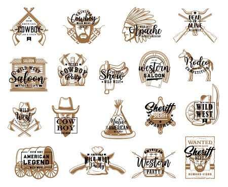 Cowboy saloon and wild west isolated icons, western symbols. Vector sheriff and apache, crossed guns dead or alive symbols. Rodeo and indians dwellings, american wagon, horse and carriage, bandit Illustration