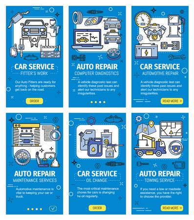 Car service and repair, vehicle computer diagnostics vector web applications. Car maintenance and oil change, towing and fitters work. Online garage station repairing center, spare parts Illustration