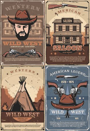 Western retro saloon, bandit and indian wigwam, crossed guns. Vector wild west indians native dwelling, sheriff in cowboy hat. American legend, knives and retro building, pistols weapons and cactuses