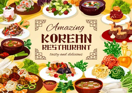 Korean delicious national dishes of national cuisine. Vector beef ribs in pot of radish, tricolor salad and with cilantro. Dried pollack in hot sauce, hee from beef and starch noodles