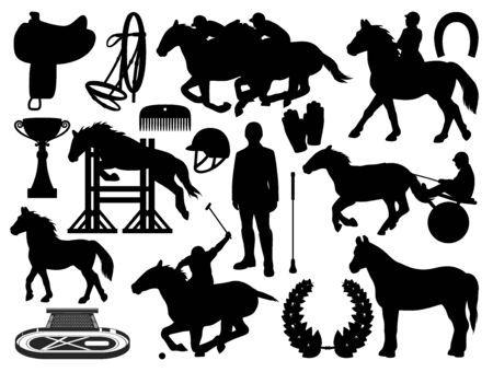 Equestrian sport and horse riding icons isolated. Vector horseshoe, whip and helmet, polo jockey and stallion jumping. Outfit gloves, racing cart and championship victory cup, equine saddle harness 矢量图像