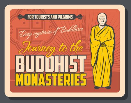 Buddhist monasteries retro advertisement with monk, stupa and swastika. Vector Buddhism religion symbols, meditating bold prayer in gown. Buddha temple, meditation relics, asian religion and culture Ilustrace