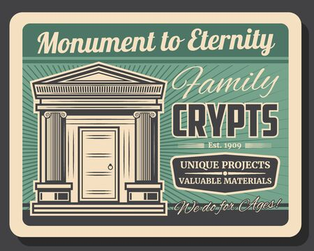 Family crypts, retro monuments to eternity. Vector funeral service agency, burial vintage charnel houses. Creepy old family tomb in cemetery, abandoned graveyard, rest in peace marble memorial