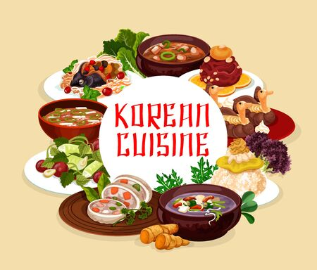 Korean cuisine banners, soups and salads. Vector steamed sausage, orienge shukrim pang, carp with soy sauce and ginger. Salad with cilantro, soup with beef, spicy kimchi and fish with noodles