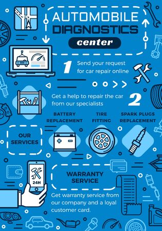 Automobile diagnostic center outline leaflet. Vector car repair services, steps of vehicle maintenance. Battery and spark plugs replacement, tire fitting, round the clock repairment, warranty on works