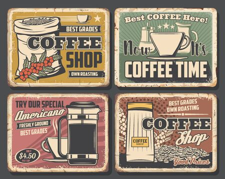 Coffee shop retro cards, beans in sack and cup of hot drink. Vector americano and kettle, steaming macchiato and containers with sugar milk. Espresso, retro caffeine or cafeteria store, coffee brewing