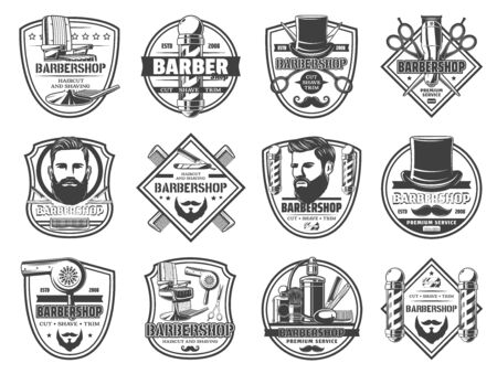 Barbershop haircut and shaving, cut, shave and trim isolated monochrome icons. Vector men salon signs and barber shop service icons. Pole signage, gentleman hat and razor blade, scissors and perfumes Illusztráció