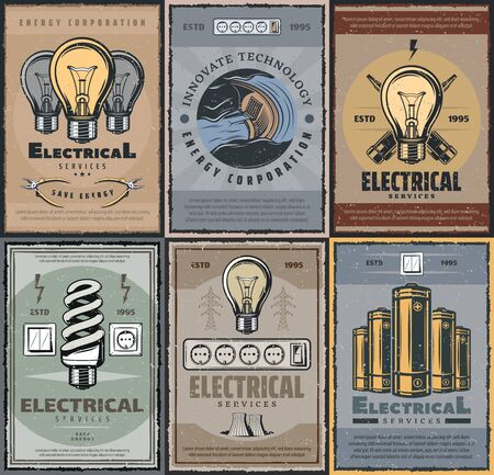 Electrical services and energy production industry. Retro vector electricity power generation, light bulb fluorescent lamps. Electric battery and switch, voltage tester, energetic corporations, pliers Vector Illustration