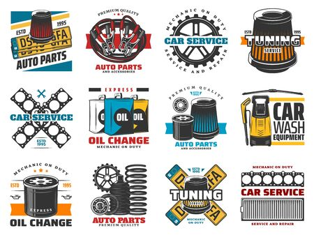 Auto spare parts and car repair services icons. Vector tuning and mechanic on duty, oil change and vehicle wash. Chassis shock absorber, engine oil filters and accumulator, pumping and plugs Stock Illustratie