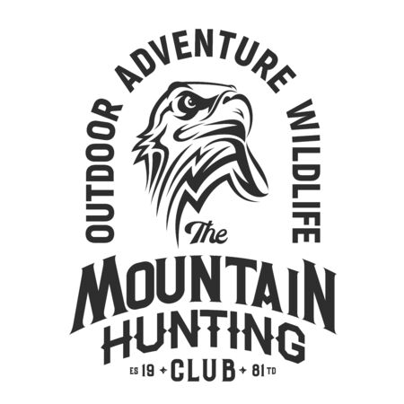 Eagle head emblem of mountain hunting club, isolated vector t-shirt print design. Eagle bird team mascot, wildlife and outdoor adventure. Bird symbol of nobility, strength and power