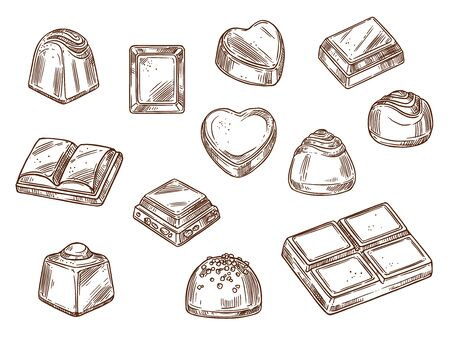 Chocolate candies and sweets isolated sketch icons. Vector cacao bars and brown chocolate with nuts and caramel, vanilla, sugar toppings Confectionery food, desserts and treats, truffles with praline