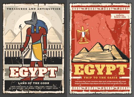 Egypt retro treasures and antiques, trip to oasis and land of gods. Vector Anubis egyptian god and cairo pyramids, sphinx and golden eagle coat of arms symbol. Coptic cross and hawk, Horus eye