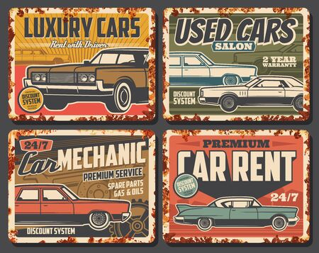 Luxury cars rent, salon of used vehicles, repair services. Vector vintage automobile shop, spare parts, oil change, gas petrol. Rent with driver, grunge retro cars of old autos, mechanic maintenance  イラスト・ベクター素材
