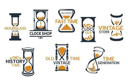 Hourglass store, clock shop isolated icons. Vector fast delivery and time history generation, vintage countdown instruments. Sandglass or vintage sand clock emblems, timer or retro watch timepieces