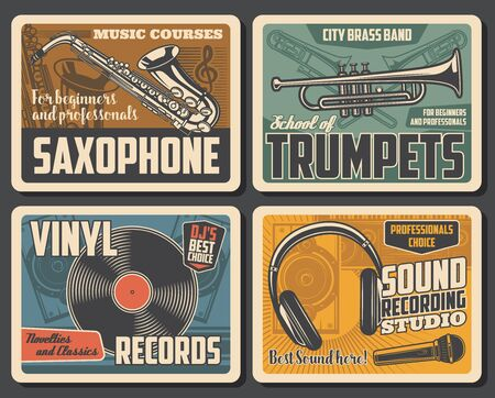 Saxophone and trumpets, vinyl records and sound recording studio. Vector retro microphone and headphones, loudspeakers and brass band. Classical music courses or school, musical instruments and notes