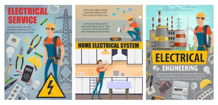 Home electrical service and electricity engineering industry. Vector electrician, energy power generation plants and stations, nuclear power plant and windmills. House electrical repairs kitchen lamp
