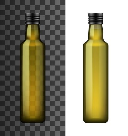 Bottle of extra virgin olive oil or vinegar isolated on white and transparent. Vector glass container with cover in realistic design. Organic salad dressing, linseed or sunflower oil, vegetarian food Ilustracja