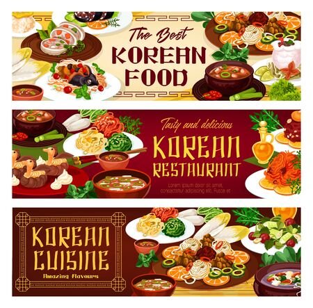 Food of Korean cuisine, appetizers, main courses. Vector kimchi soup with beef, fish with soy sauce, starch noodles, spicy kimchi soup with beef. Salads, bowls with meat, vegetables and fruits, greens