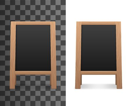 Blank old blackboard isolated on transparent and white. Vector empty advertising chalkboard, mockup of menu board on tripod. Wooden stand with spare place to add info, education or school object Ilustracje wektorowe