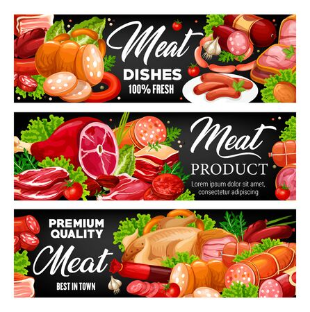 Sausages, meat products and greens. Vector pork and beef, ham and bacon, smoked frankfurter and salami. Meat store, smoked chicken or turkey, lettuce and rosemary, tomatoes and parsley 向量圖像